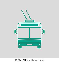 Trolleybus Icon Front View. Green on Gray Background. Vector...