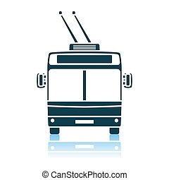 Trolleybus Icon Front View. Shadow Reflection Design. Vector...