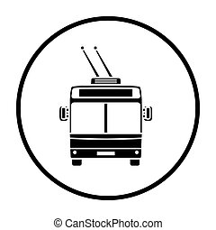 Trolleybus icon front view. Thin Circle Stencil Design....
