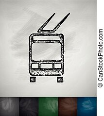 trolleybus icon. Hand drawn vector illustration. Chalkboard ...