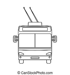 Trolleybus Icon. Outline Simple Design. Vector Illustration.