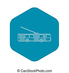 Trolleybus icon, outline style - Trolleybus icon. Outline...