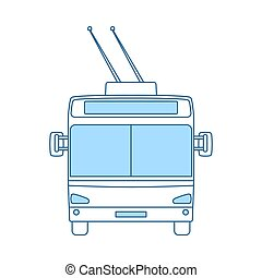 Trolleybus Icon. Thin Line With Blue Fill Design. Vector ...