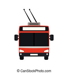 Trolleybus Icon - Trolleybus icon front view. Flat color ...