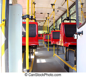 Interior of renovated city trolleybus