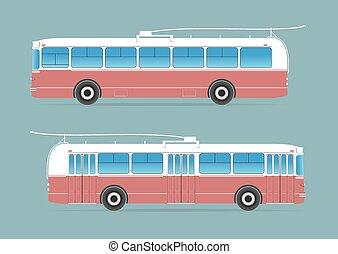 trolleybus, isolado, fundo