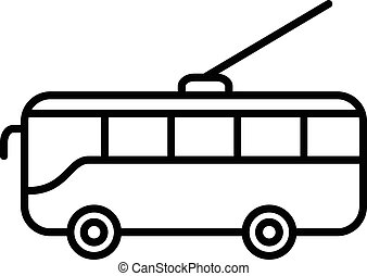 Trolleybus line icon - Trolleybus icon isolated on a white ...