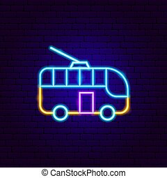 Trolleybus Neon Sign. Vector Illustration of Transport ...