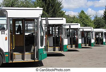 Number of updates trolley with an open door