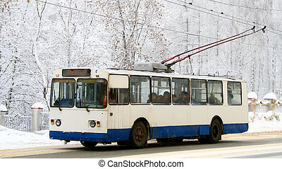 Old white and blue trolleybus