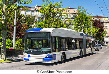 Trolleybus on a street of Lausanne - Switzerland