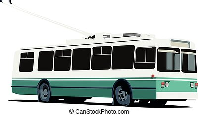 trolleybus realistic vector illustration isolated