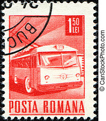 trolleybus - ROMANIA- CIRCA 1971: A Stamp printed in Romaia ...