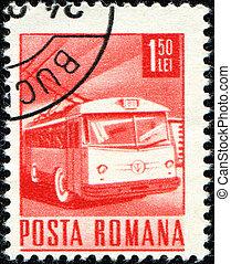 ROMANIA- CIRCA 1971: A Stamp printed in Romaia shows Trolleybus, circa 1971