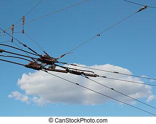 Trolleybus fork in the tween power leads of urban transport lines