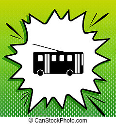 Trolleybus sign. Black Icon on white popart Splash at green ...