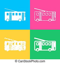 Trolleybus sign. Four styles of icon on four color squares.