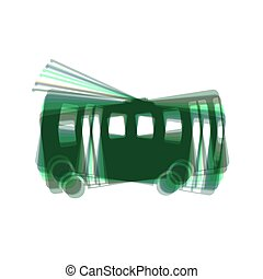 Trolleybus sign. Vector. Colorful icon shaked with vertical axis at white background. Isolated.
