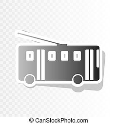 Trolleybus sign. Vector. New year blackish icon on transparent background with transition.