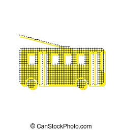 Trolleybus sign. Vector. Yellow icon with square pattern duplica