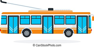 Trolleybus vector flat isolated - Trolleybus vector flat ...