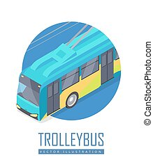 Trolleybus Vector Icon in Isometric Projection