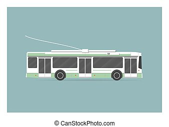 Trolleybus. Vector illustration. EPS 10, opacity