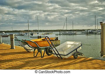 Trolleys to fish - traditional trolleys to fish in a typical...