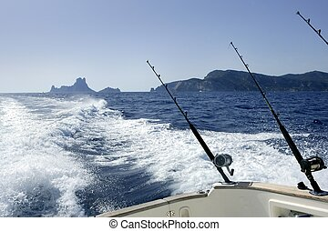 trolling fishing boat whith salt water rod and reels