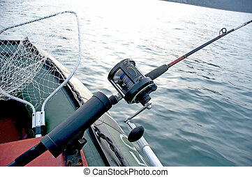trolling on the see - Fishing on the sea trolling from a...