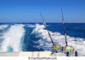 trolling, visserboot, staaf, en, gouden, saltwater, spoelen