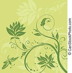 trollslända, blomma, bakgrund