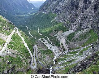 """Famous Norwegian """"Troll's Path"""" (Trollstigen or Trollstigveien) - winding mountain road."""