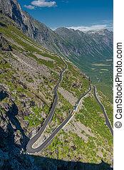 Trollstigen, Troll's Footpath, serpentine mountain road in...