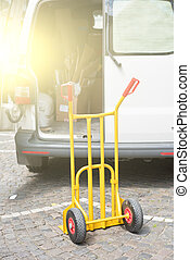 trolly, voiture, ouvert, vide