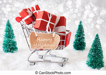 Trolly With Christmas Gifts And Snow, Text Happy Holidays