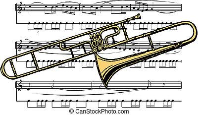 trombón, instrumento, musical