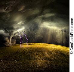 tromb, in, stormig, landskap