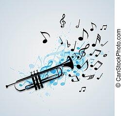 tromba, astratto, musica, fondo