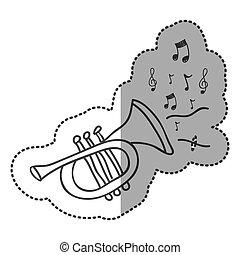 tromba, strumento, con, note, musica, icona