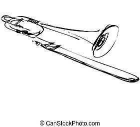 trombon, koppar, skiss, musikinstrument