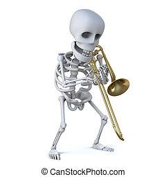 trombone, 3d, gioco, scheletro
