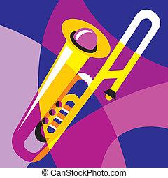 trombone - vector image trombone. Stylization of color...