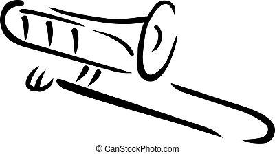 trombone, estilo, caligraphy