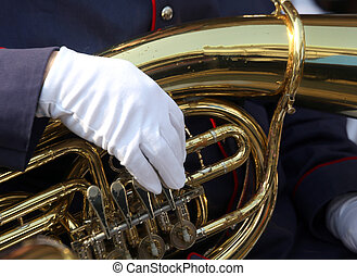 trombone in brass and the hand of musician