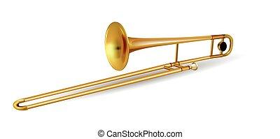 trombone, instrument, witte , vrijstaand, muzikalisch