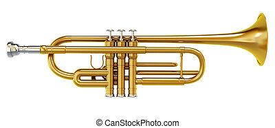 trombone, laiton, blanc, isolé, fond