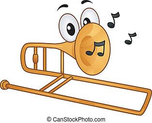 Trombone Mascot - Mascot Illustration Featuring Musical...