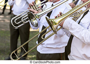 trombone players of military brass band
