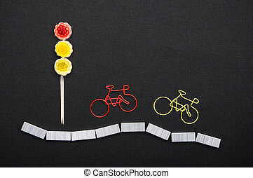 trombones, dans, a, formulaire, de, vélo, près, les, lumière, de, sweets., sécurité, pour, cyclistes, sur, les, road.
